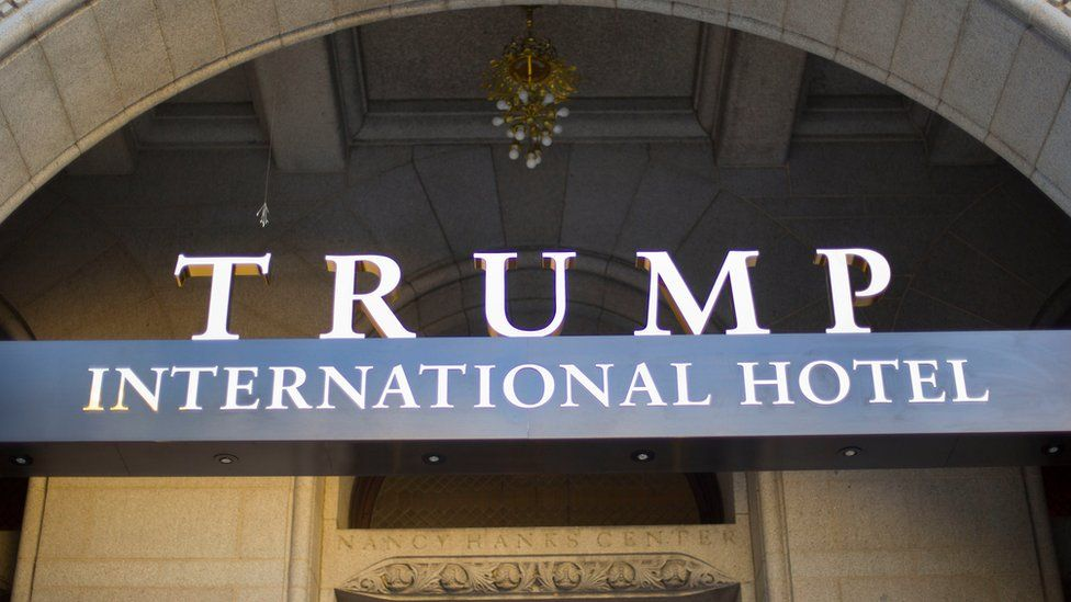 Exterior of the Trump International Hotel in downtown Washington, Monday, Sept. 12, 2016. The luxury hotel Donald Trump has built in an iconic downtown Washington building is set to open.