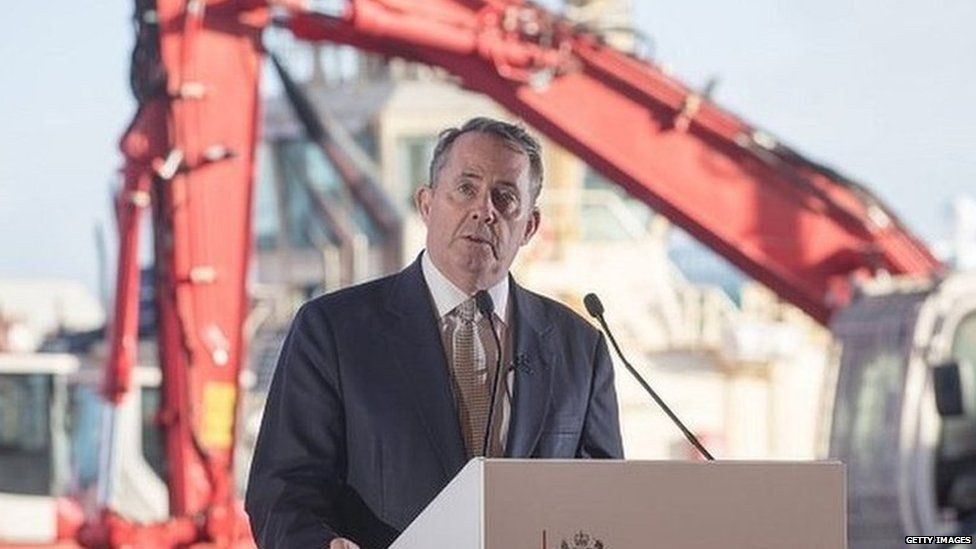 Liam Fox speaking at the Royal Portbury Dock in Bristol