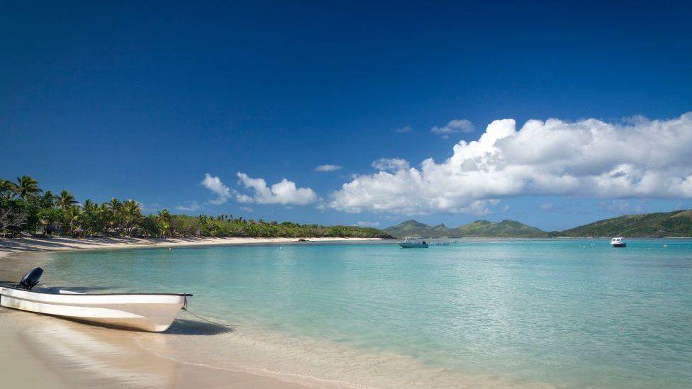 Nacula Bay on Nacula Island in Yasawa Islands, Fiji