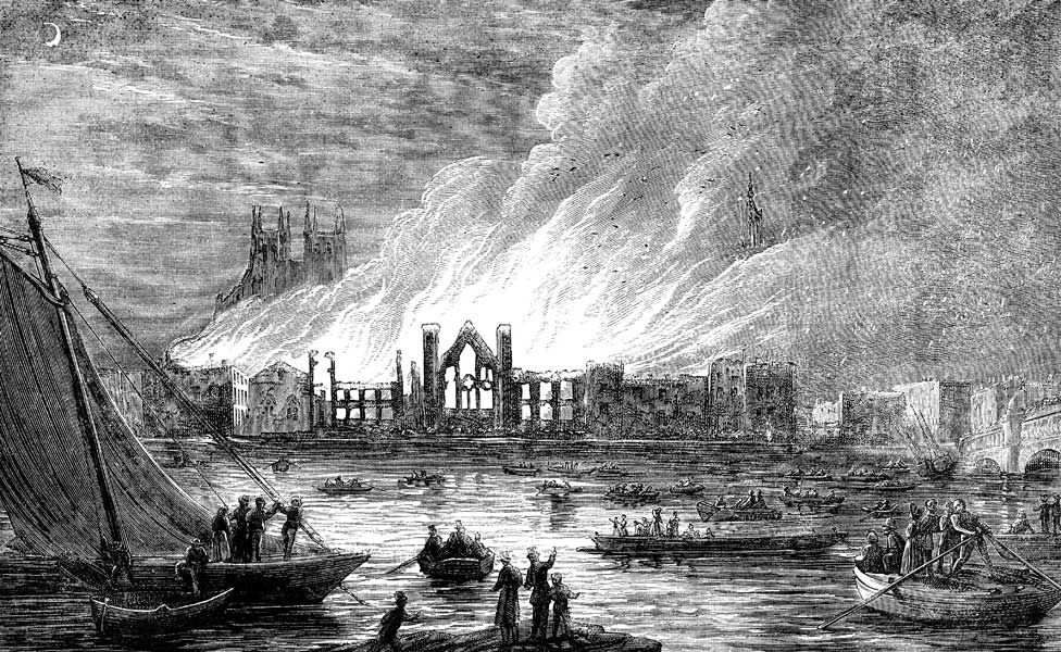 The Palace of Westminster pictured during the fire which largely destroyed it in October 1834