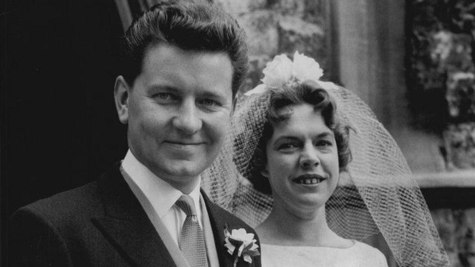 Newsreader Richard Baker With His Bride Miss Margaret Celia Martin.