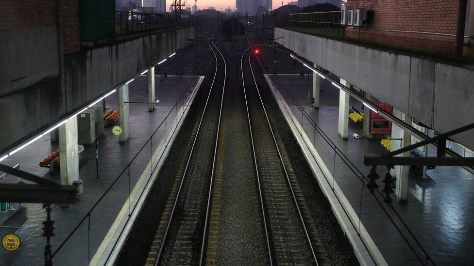 Empty platforms of a subway station are seen during a general strike against the government's pension plan in downtown of Sao Paulo