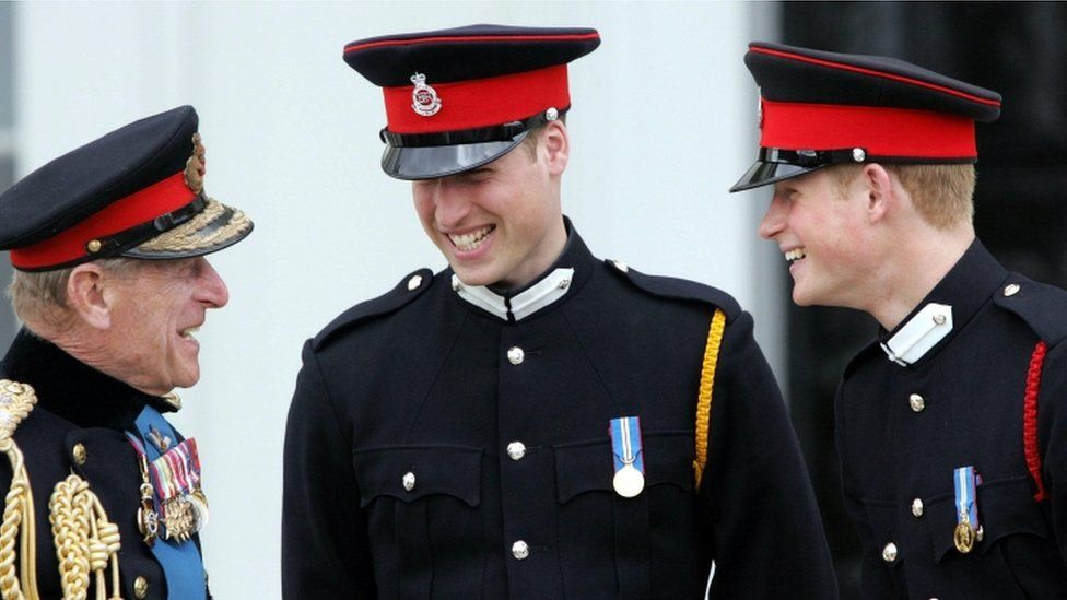 Prince Philip with William and Harry