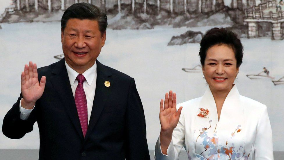 Chinese President Xi Jinping and his wife, Peng Liyuan attend the welcoming banquet for the BRICS Summit, in Xiamen, China 4 September 2017.