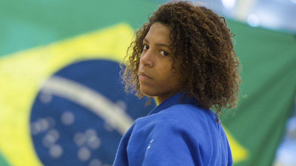Rafaela Silva of the Brazilian national team in action during a training session before the Olympic Games London 2012