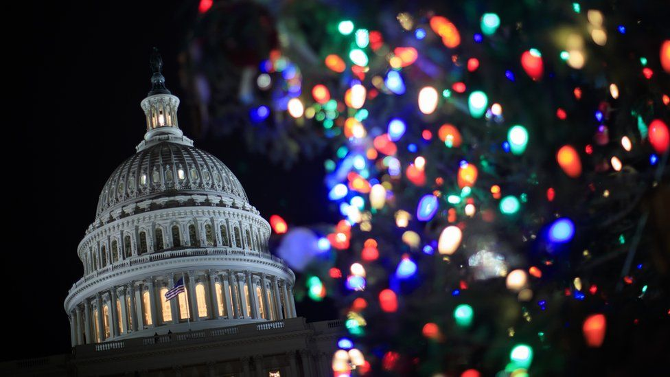 Capital Hill and a Christmas tree in the USA