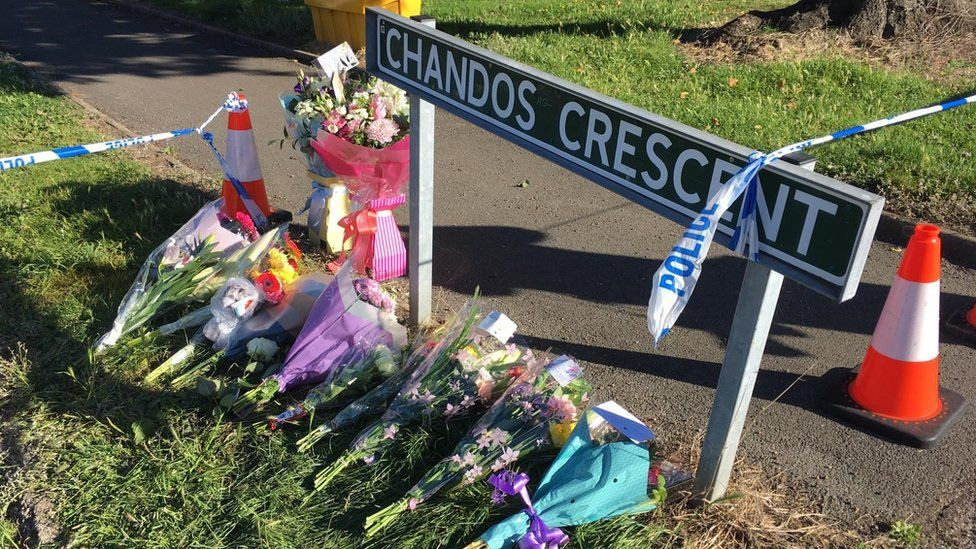 Flowers left at Chandos Crescent