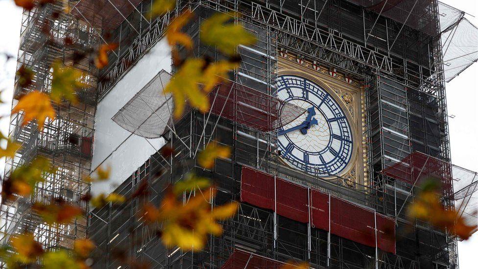 Elizabeth Tower during refurbishment works
