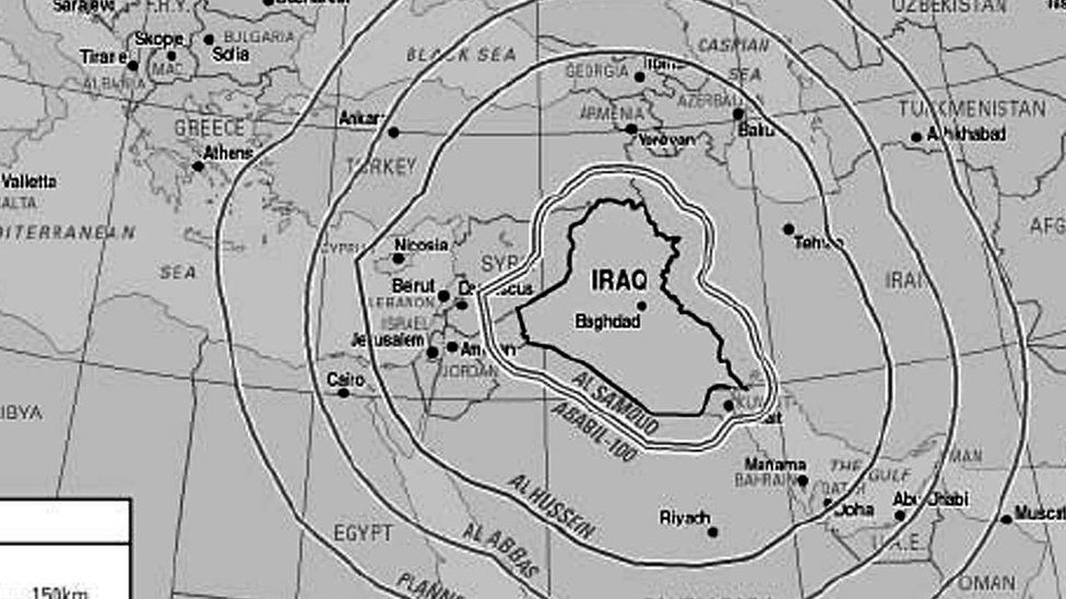 Iraqi missile range map from 2002 UK government report