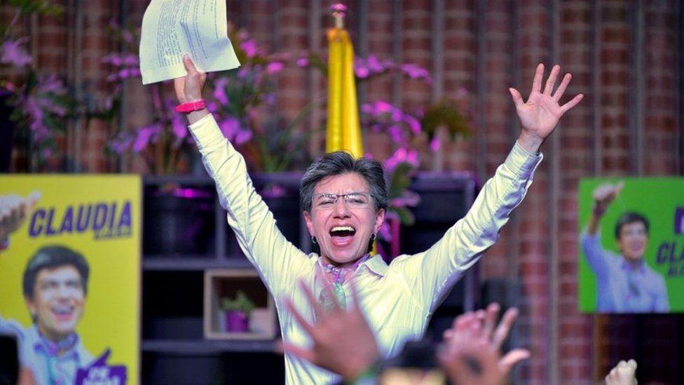 Claudia López celebrates after winning regional elections in Bogota