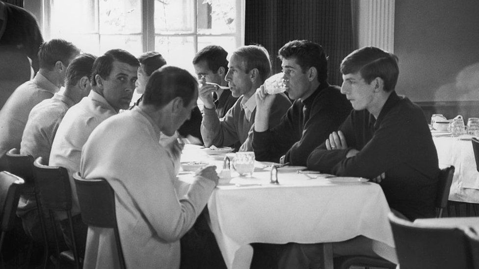 Members of the England squad eating the day before the World Cup final