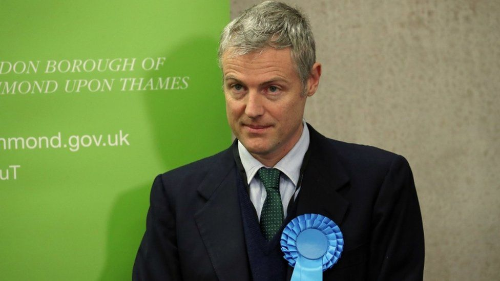 Conservative candidate Zac Goldsmith reacts after losing his Richmond Park