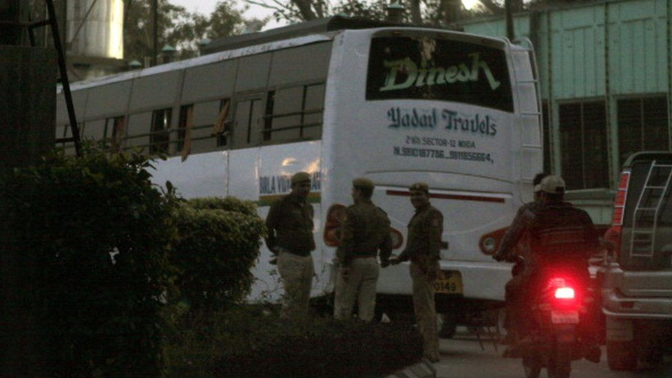 Police investigating the bus at Thyagraj stadium, in which a Paramedical student was reportedly raped in a moving bus, on December 18, 2012 in New Delhi, India.