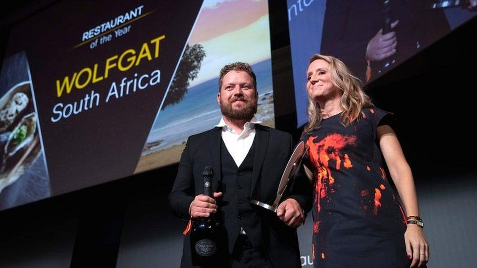 Chef Kobus van der Merwe receives his award during the inaugural World Restaurant Awards on 18 February 2019 in Paris