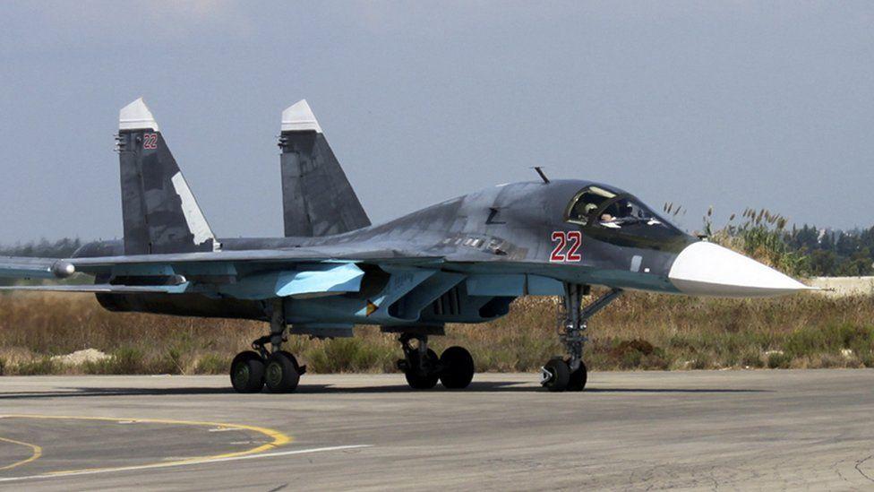 Russian SU-34 Flanker-E bomber at the Hmeimim airbase, Syria