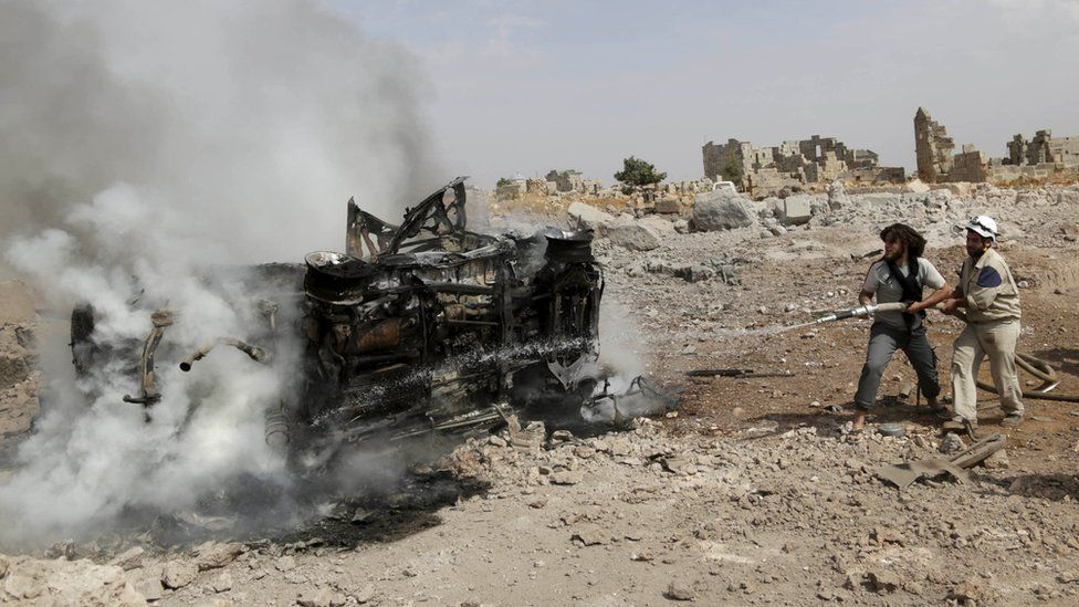 Aftermath of attack in Idlib, reportedly by Russian warplanes. 30 Sept 2015