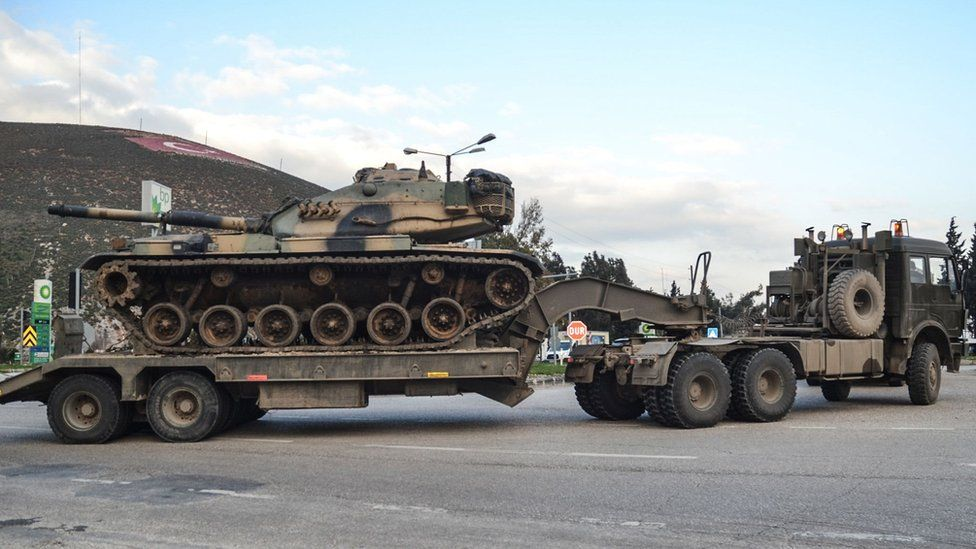 Turkish military convoy in the Hatay region of southern Turkey on 12 January 2019