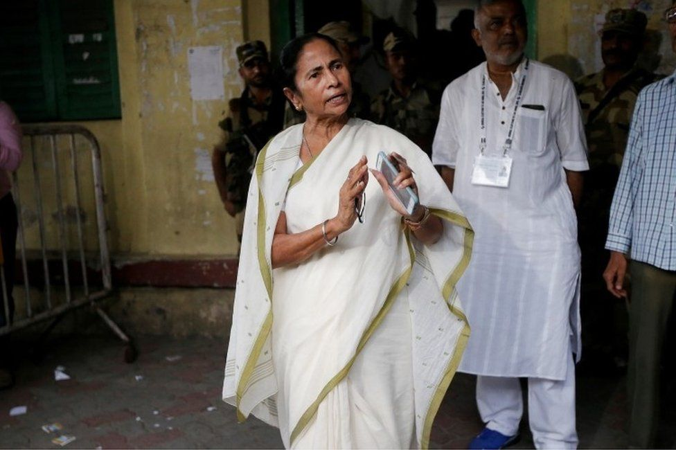 Mamata Banerjee, the Chief Minister of West Bengal and chief of Trinamool Congress (TMC), gestures as she talks to media after casting her vote at a polling station during the final phase of general election in Kolkata, India, May 19, 2019.