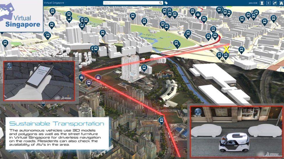 Virtual map of driverless cars around Singapore