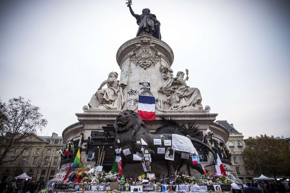 Tributes laid to victims of the Paris attacks at the foot of the Monument a La Republique in Paris
