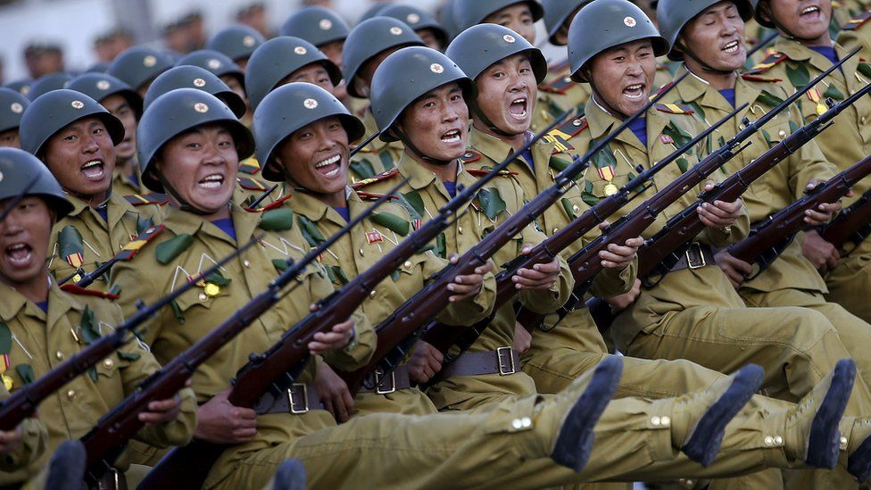 Soldiers shout slogans during the military parade for the 70th anniversary of the founding Workers' Party, Pyongyang, North Korea - Saturday 10 October 2015