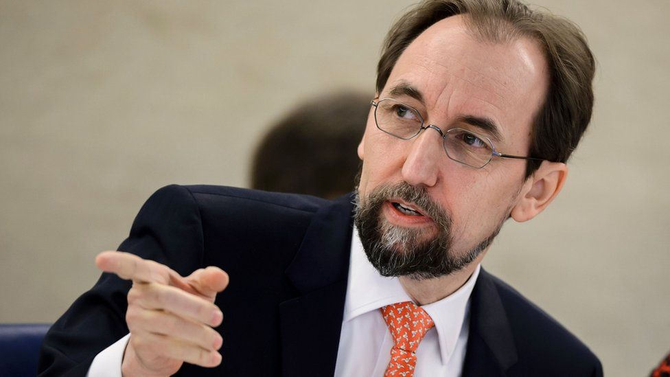 UN High Commissioner for Human Rights Zeid Ra'ad al-Hussein at opening of main annual session of UN Human Rights Council. 29 February 2016 in Geneva