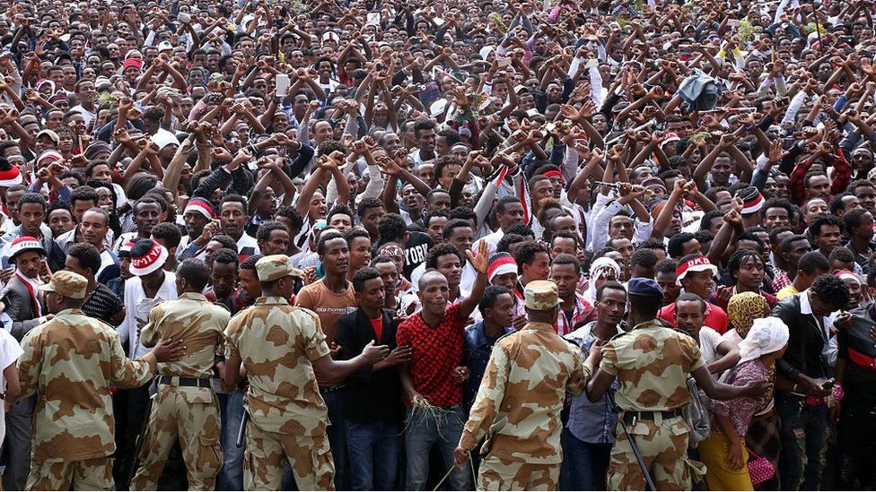 Security measures are taken as the Oromo people stage a protest against government during the Oromo new year holiday Irreechaa' near the Hora Lake at Dberzit town in Addis Ababa, Ethiophia on October 02, 2016.