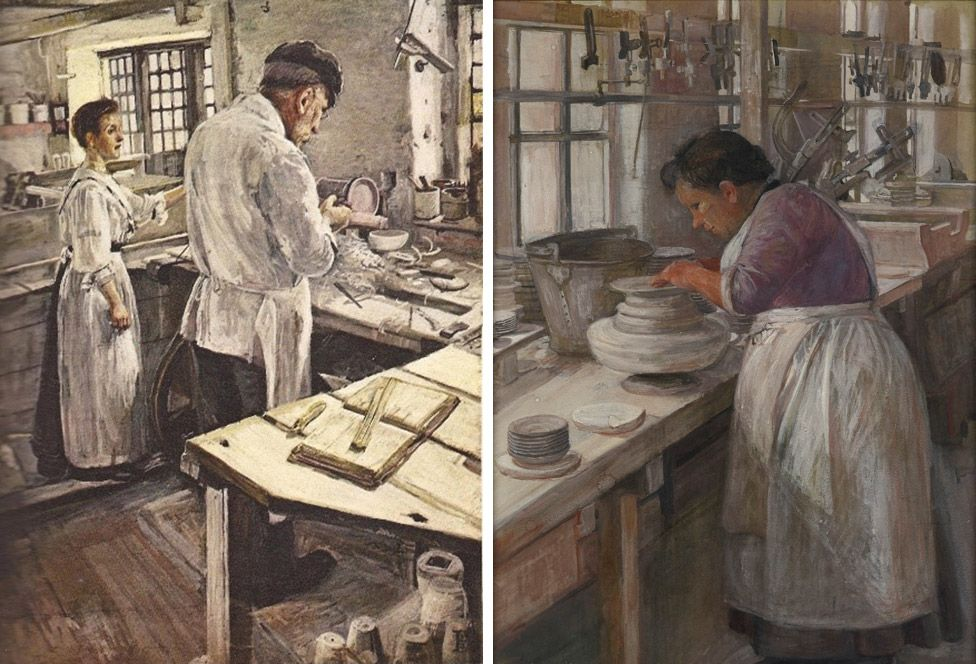 Left: Sylvia Pankhurst's An Old-fashioned Pottery Turning Jasper-ware; right: On a Pot Bank: Finishing Off the Edges of the Unbaked Plates on a Whirler