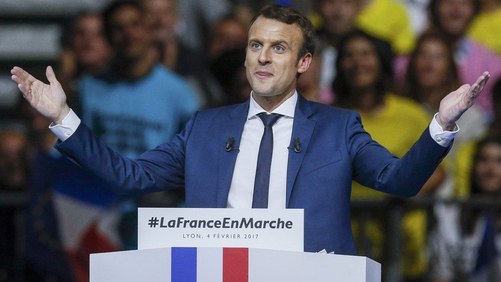Emmanuel Macron, head of the political movement En Marche! at a campaign rally in Lyon on 4 February, 2017.
