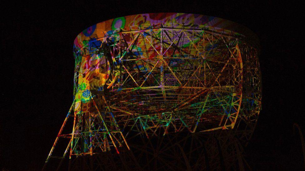 Lovell Telescope lit for Bluedot Festival 2017