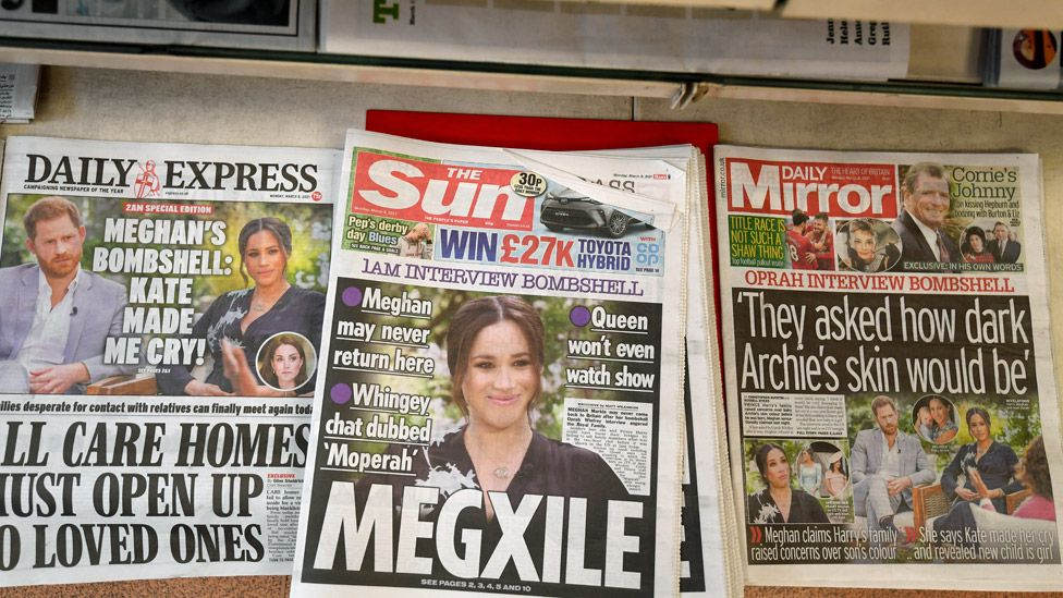 British newspapers on a stand after the US television interview of Prince Harry and Meghan Markle