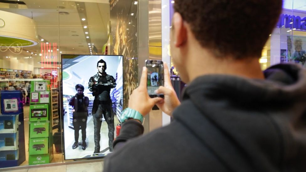 Ad Reality's tech used to display animated content in Game shop.