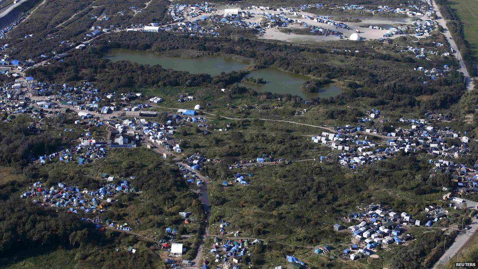 Aerial shot of the Calais 'Jungle'