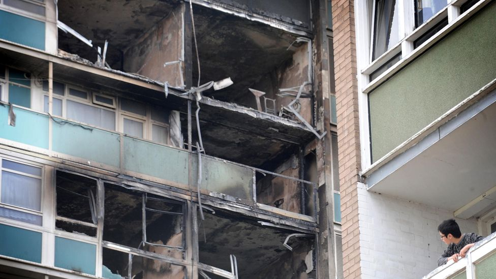 Fire damage at Lakanal House in South London, 2009