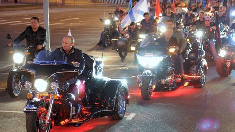 Vladimir Putin (in front) rides with Night Wolves bikers. File photo