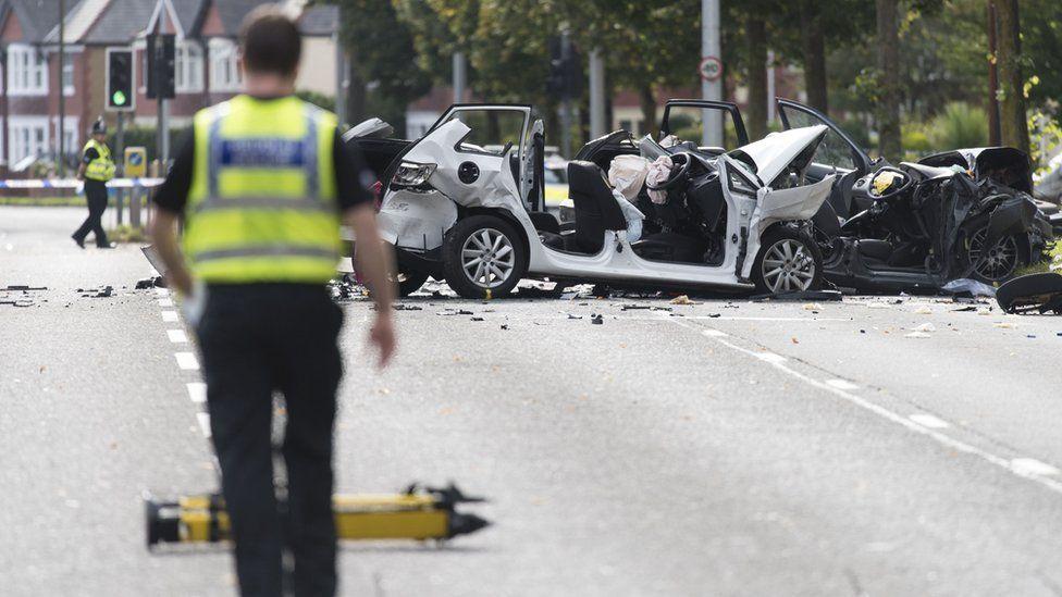 crash scene on Western Avenue