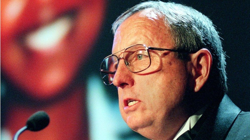 In this file photo taken on November 23, 1998, Goodloe Sutton, a newspaper editor from Alabama, speaks at an awards presentation in New York