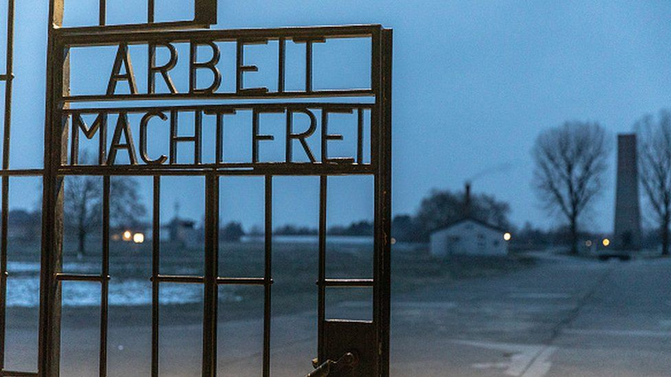 A gate with the inscription Work Sets You Free at the Sachsenhausen concentration camp