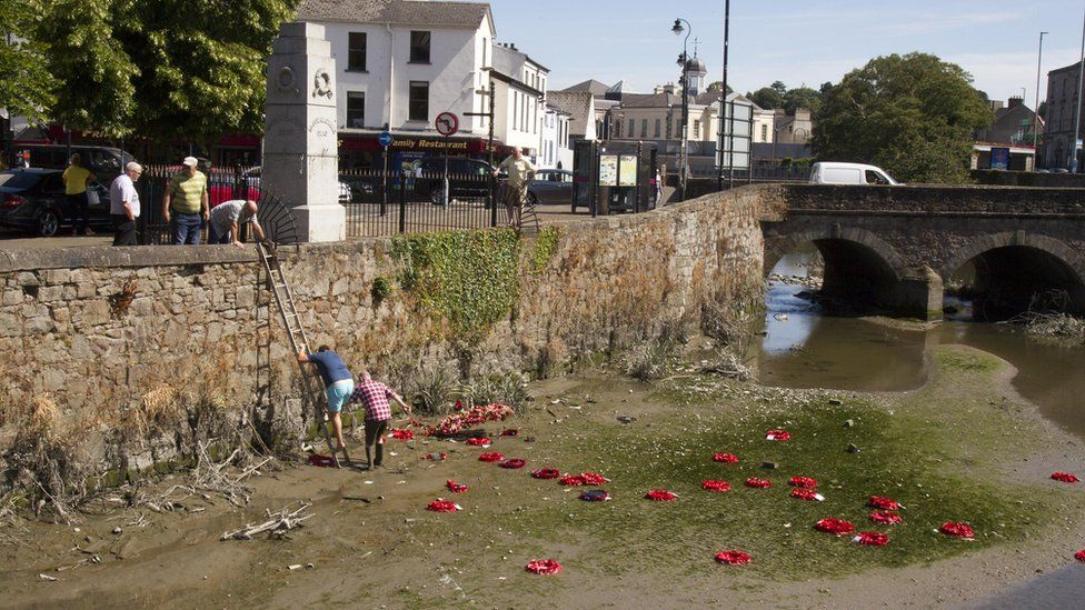 Local people could retrieving wreaths from the dried out Clanrye River