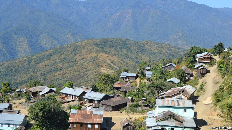 View of Mualpi and the mountains where villagers grow poppy crop