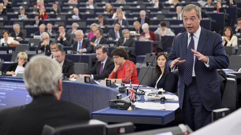 Nigel Farage speaking in Strabourg