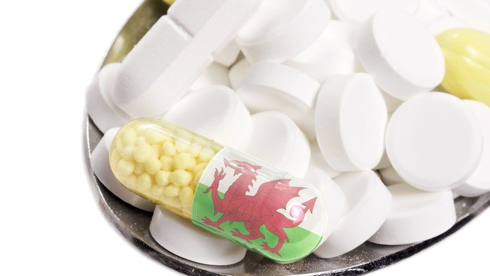 The national flag of Wales on a capsule and pills on a spoon