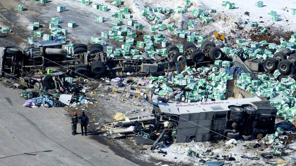 Aerial photograph of wreckage shows lorry's load scattered in the snow, highly damaged bus and overturned trailer