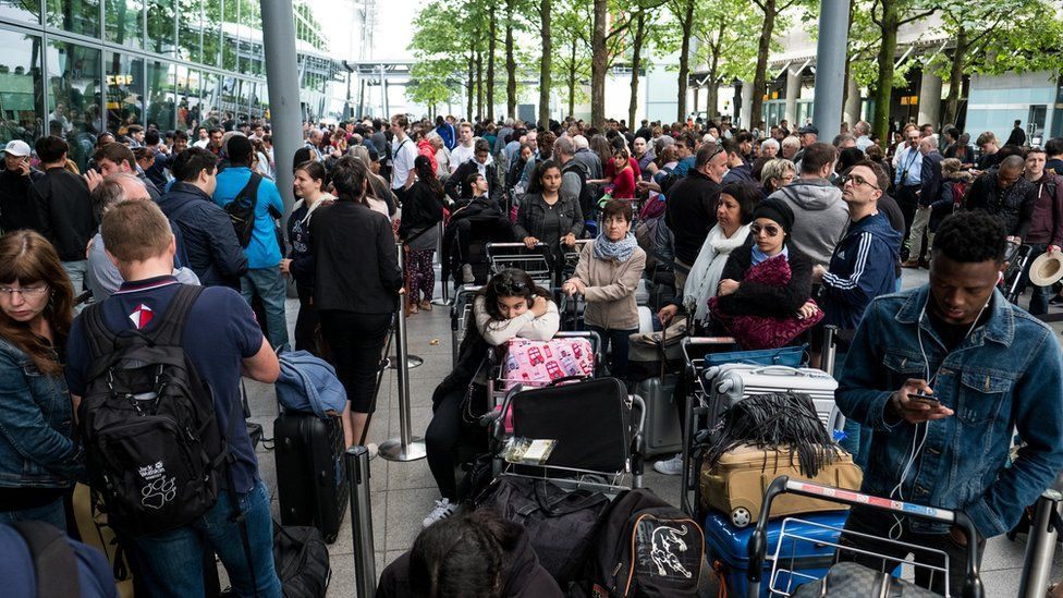 Passengers were also waiting outside the terminal