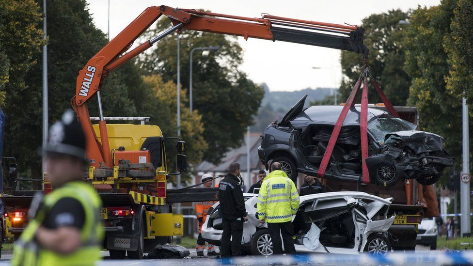 Fatal crash on Western Ave Cardiff, Sept 2015 - Ford Focus being recovered