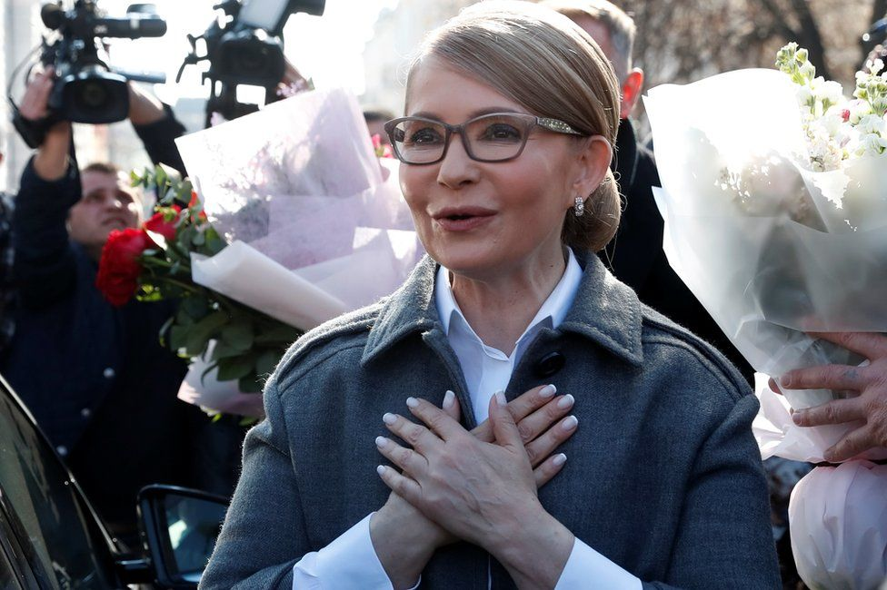 Yulia Tymoshenko outside a polling station in Kiev, 31 May