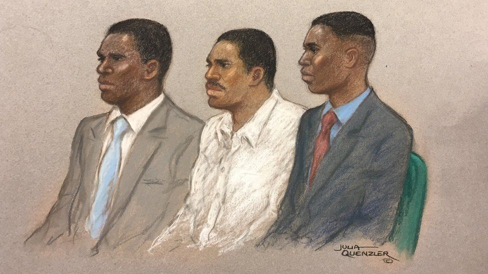 Court drawing of Merse Dikanda, Jonathan Okigbo and George Koh appearing at the Old Bailey