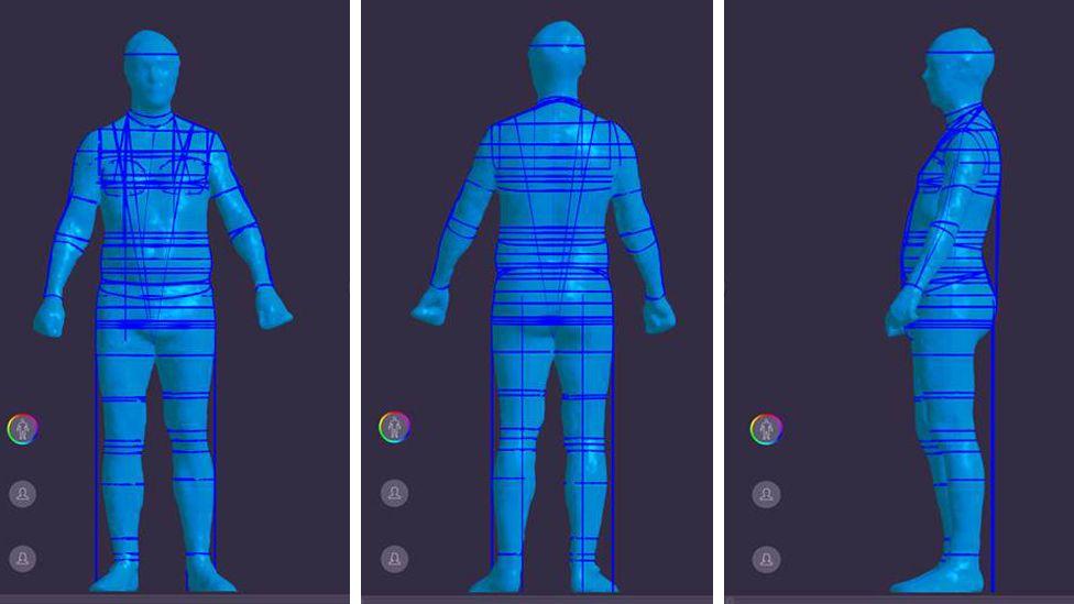 Front back and side digital images of Ed Butler's body