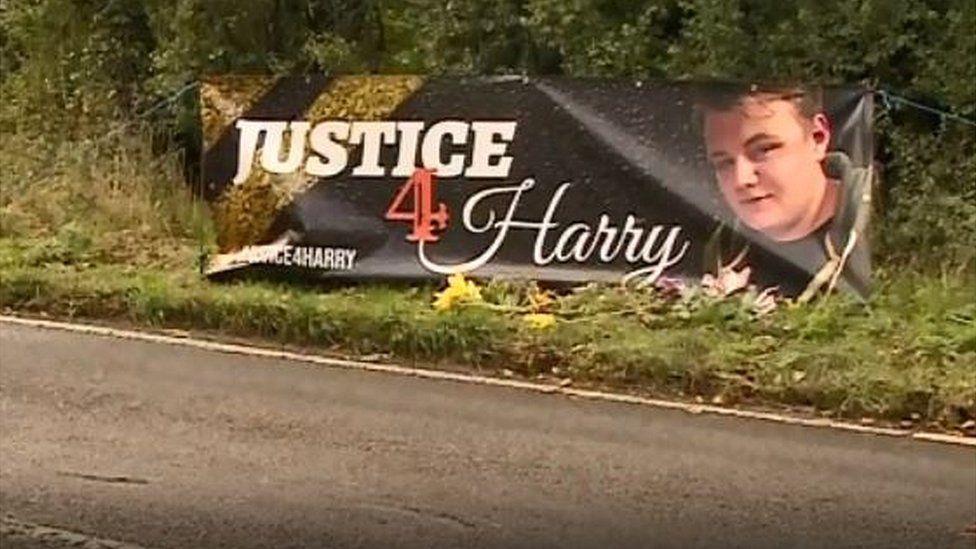 Road side banner for Harry Dunn
