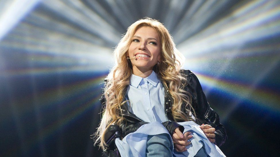 """A handout photo dated 11 March 2017 and made available 22 March 2017 by press service of Russian TV Channel 1 shows Russian singer, composer and songwriter Julia Samoylova (Samoilova) who was to represent Russia with the song """"Flame Is Burning"""" in the 2017 Eurovision Song Contest in Kiev, Ukraine"""